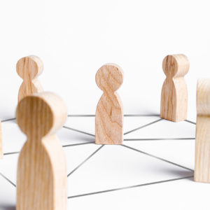 People are connected by a network of gray lines. Communication and social networks. Cooperation and collaboration. Project and leadership personnel management. Corporate Ethics, Public Relations