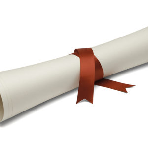Diploma tied with red ribbon on a white isolated background.