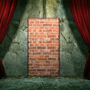 closed door by bricks on grunge wall and red curtain above (3D rendering)